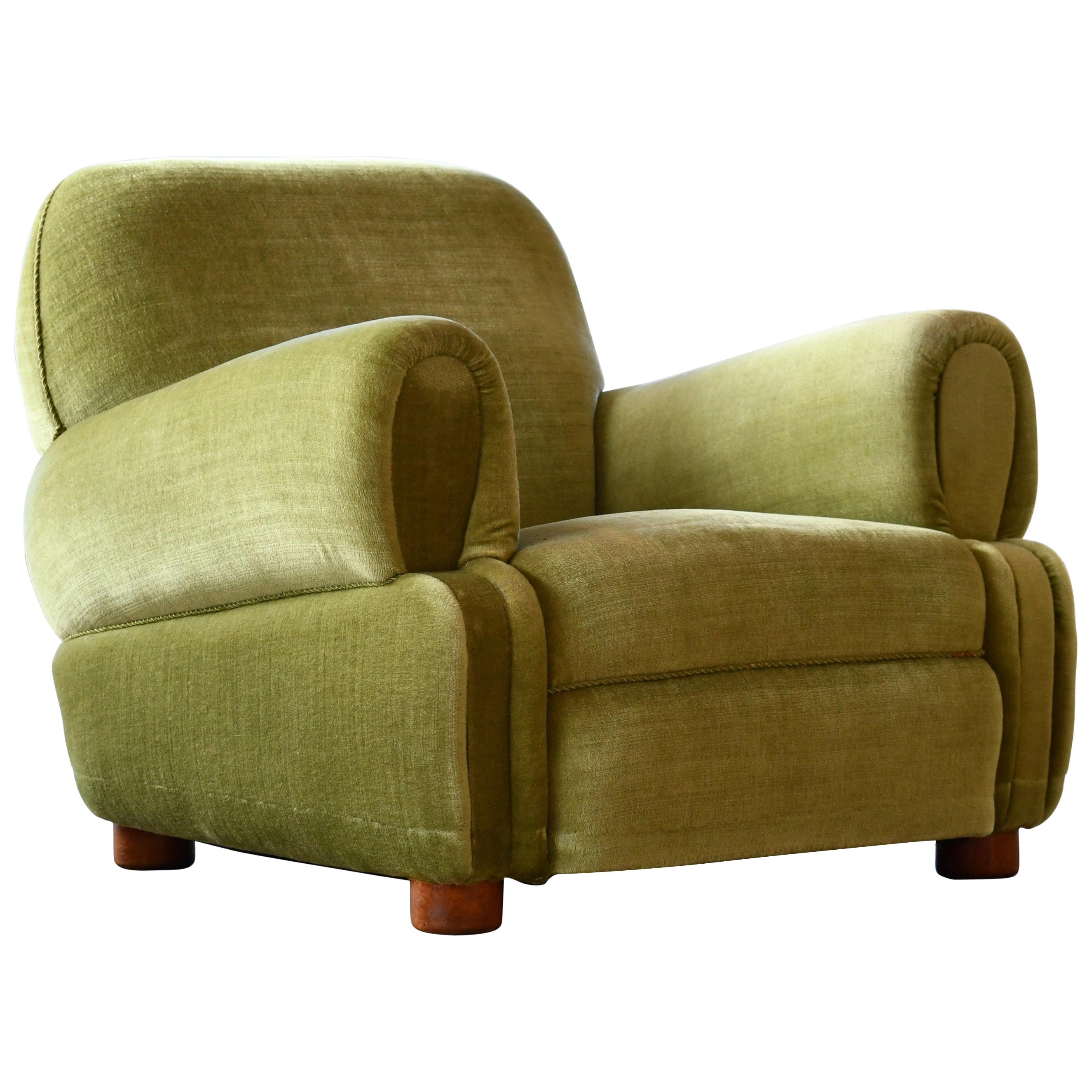 Danish 1940's Low Large Scale Club Chair in Green Mohair