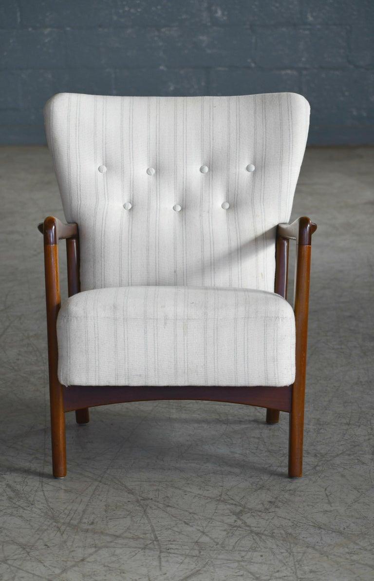 Mid-Century Modern Danish 1940s Lowback Open Armrest Lounge Chair by Soren Hansen for Fritz Hansen For Sale