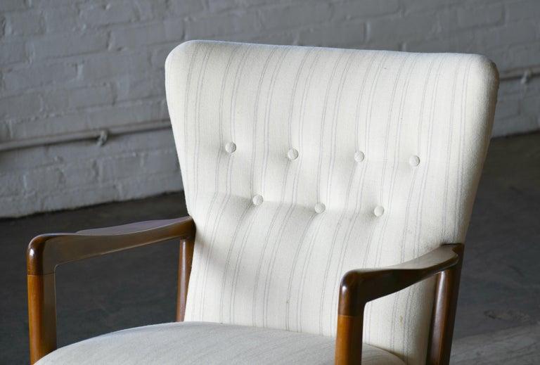 Mid-20th Century Danish 1940s Lowback Open Armrest Lounge Chair by Soren Hansen for Fritz Hansen For Sale