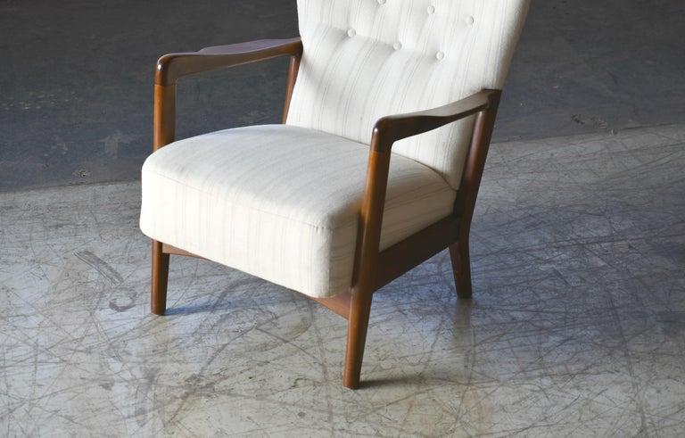 Wool Danish 1940s Lowback Open Armrest Lounge Chair by Soren Hansen for Fritz Hansen For Sale
