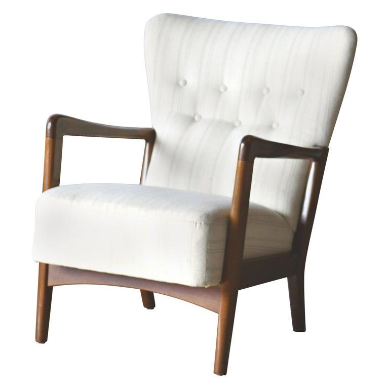 Danish 1940s Lowback Open Armrest Lounge Chair by Soren Hansen for Fritz Hansen For Sale