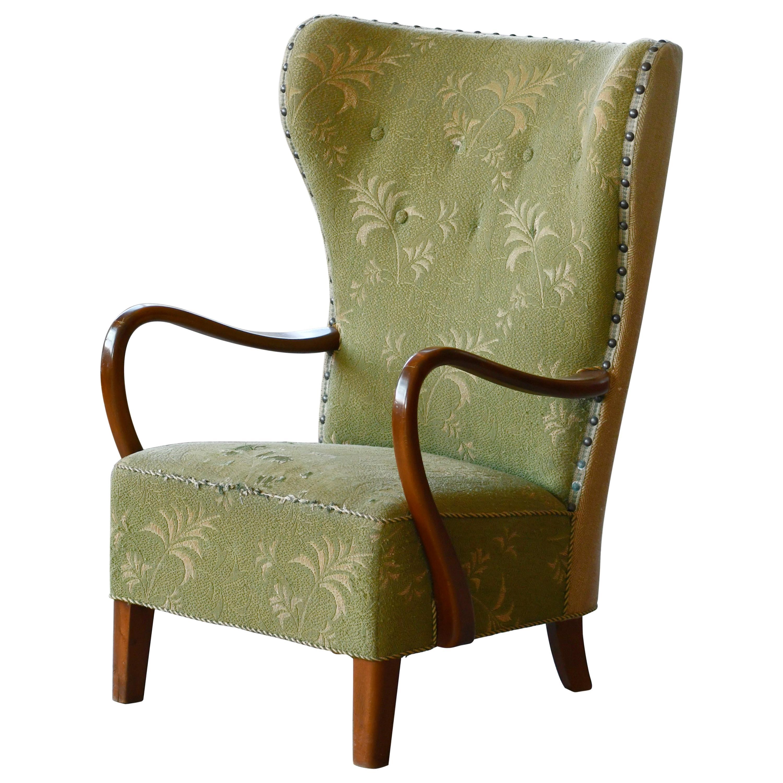 Danish 1940s Midcentury Fritz Hansen Style High Back Lounge Chair Open Armrests