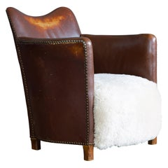 Danish 1940s Small-Scale Club or Library Chair in Cognac Leather and Shearling