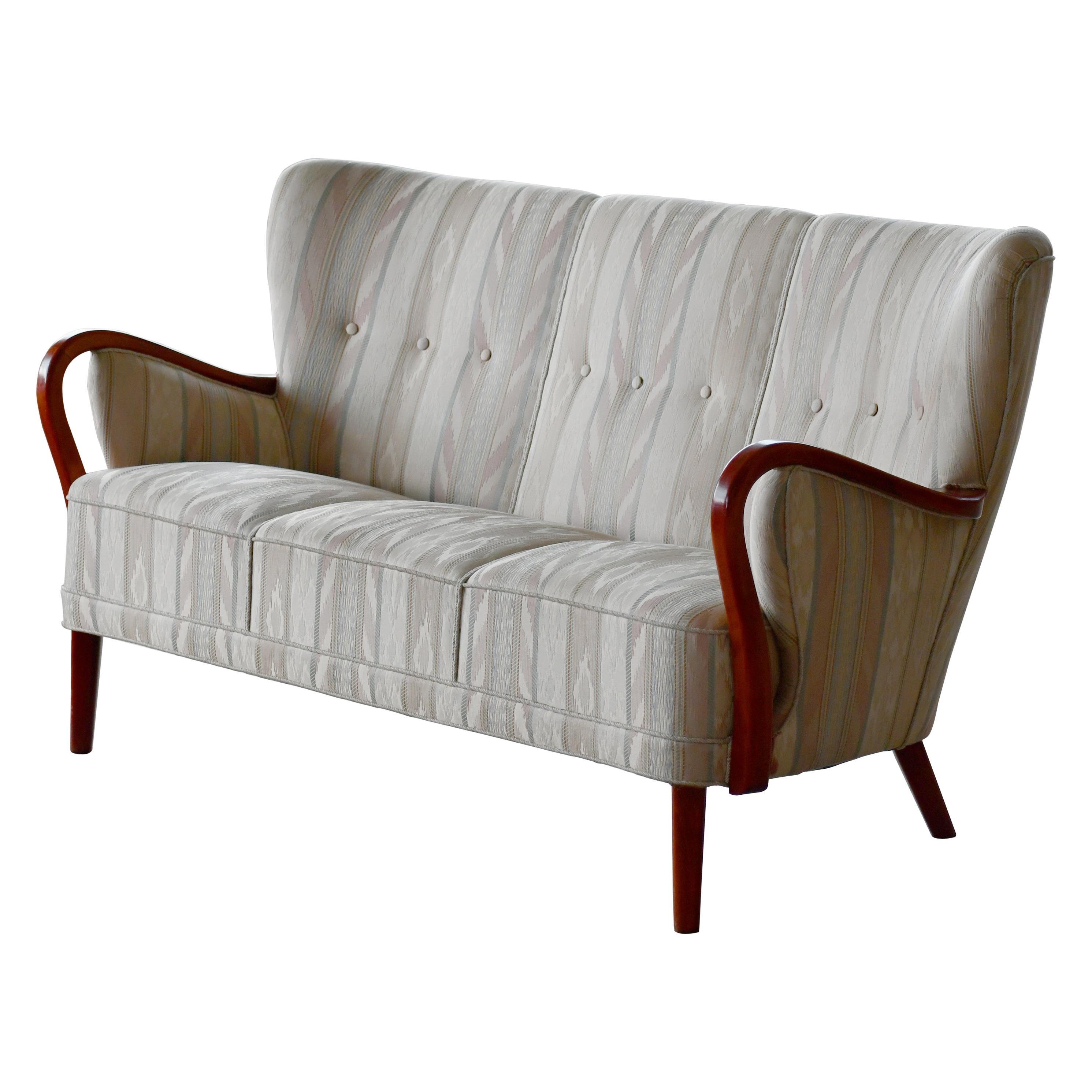 Danish 1940s Sofa with Open Armrests by Alfred Christensen for Slagelse