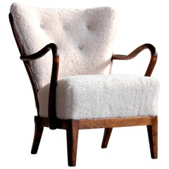 Danish 1940s Spindle Back Lounge Chair in Lamb's Wool by Alfred Christensen