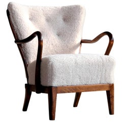 Danish 1940s Spindle Back Lounge Chair in Lambswool by Alfred Christensen