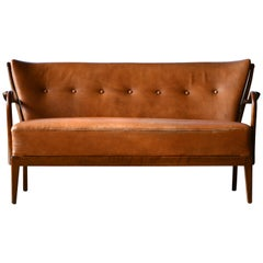 Danish 1940s Spindle Back Sofa with Open Armrests by Alfred Christensen