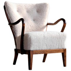 Danish 1940s Spindleback Lounge Chair in Lambswool by Alfred Christensen