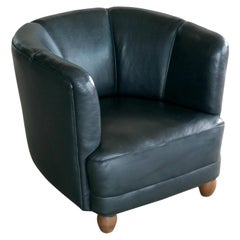 Danish 1940s Viggo Boesen Style Club Chair in Black Leather