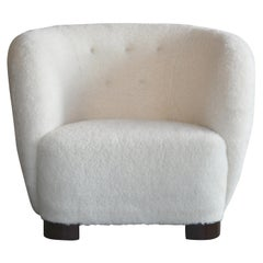 Danish 1940s Viggo Boesen Style Lounge Chair in Lambswool by Slagelse Mobelvaerk