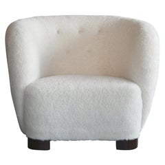 Danish 1940s Viggo Boesen Style Lounge Chair in Lambswool by Slagelse Mobelvaerk