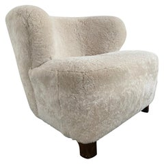 Danish 1940s Viggo Boesen Style Lounge Chair Upholstered in Cream Shearling