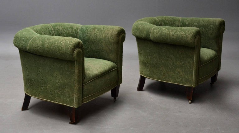 Mid-Century Modern Danish 1950s Chesterfield Style Pair of Club Chairs in the Style of Otto Schulz For Sale