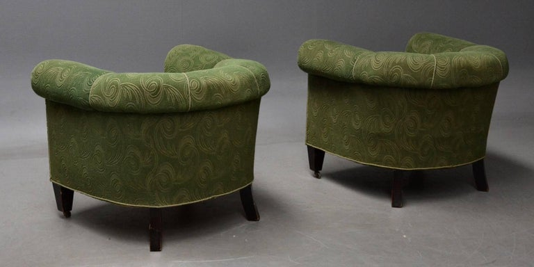 Mid-20th Century Danish 1950s Chesterfield Style Pair of Club Chairs in the Style of Otto Schulz For Sale