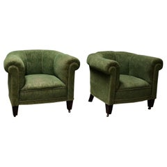 Danish 1950s Chesterfield Style Pair of Club Chairs in the Style of Otto Schulz
