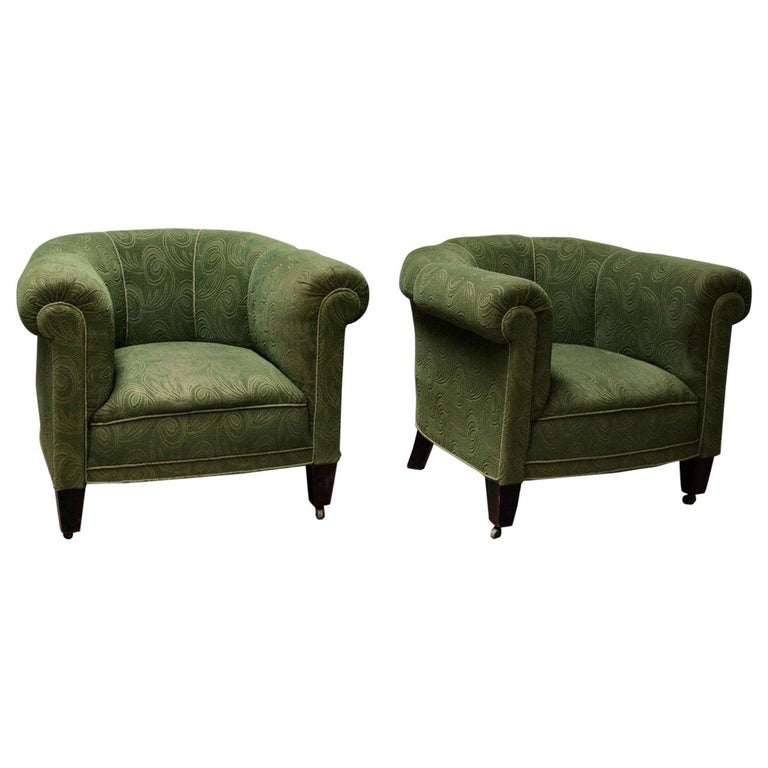 Danish 1950s Chesterfield Style Pair of Club Chairs in the Style of Otto Schulz For Sale