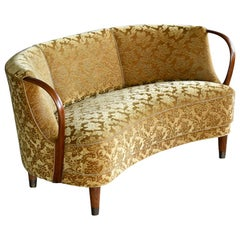Danish 1950s Curved Banana Shaped Loveseat or Settee with Open Armrests