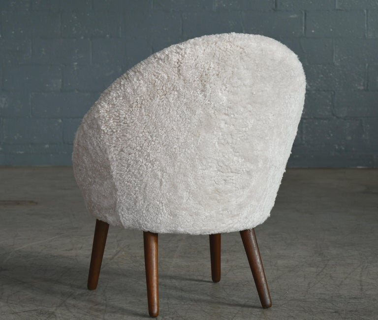 Danish 1950s Easy Chair Covered in Shearling Sheepskin by Ejv. Johansson For Sale 5
