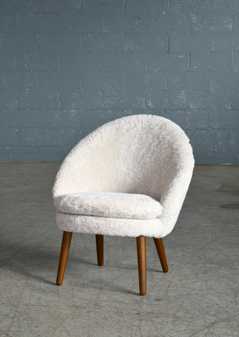 Mid-Century Modern Danish 1950s Easy Chair Covered in Shearling Sheepskin by Ejv. Johansson For Sale