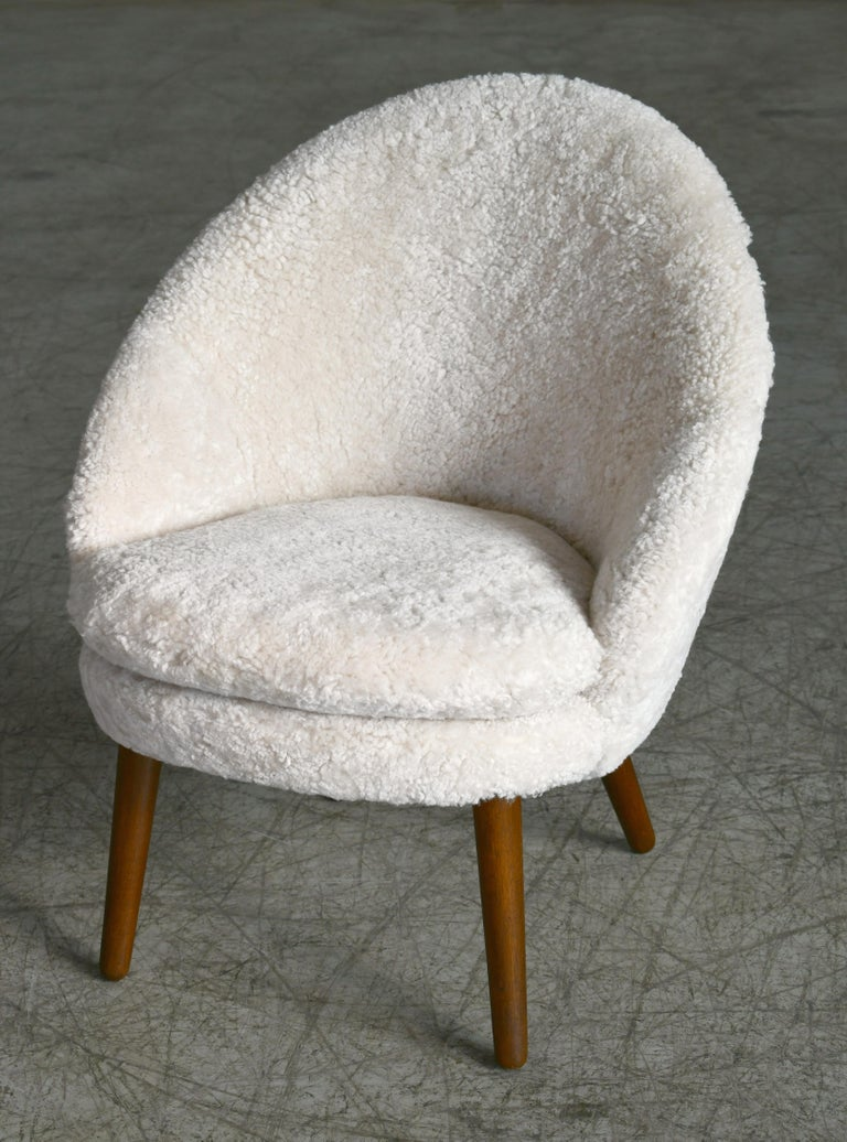 Danish 1950s Easy Chair Covered in Shearling Sheepskin by Ejv. Johansson In Good Condition For Sale In Bridgeport, CT