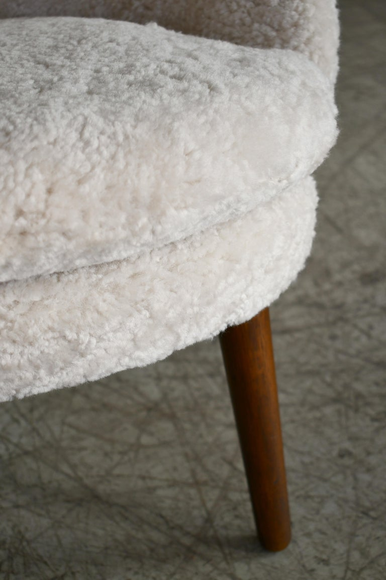 Mid-20th Century Danish 1950s Easy Chair Covered in Shearling Sheepskin by Ejv. Johansson For Sale