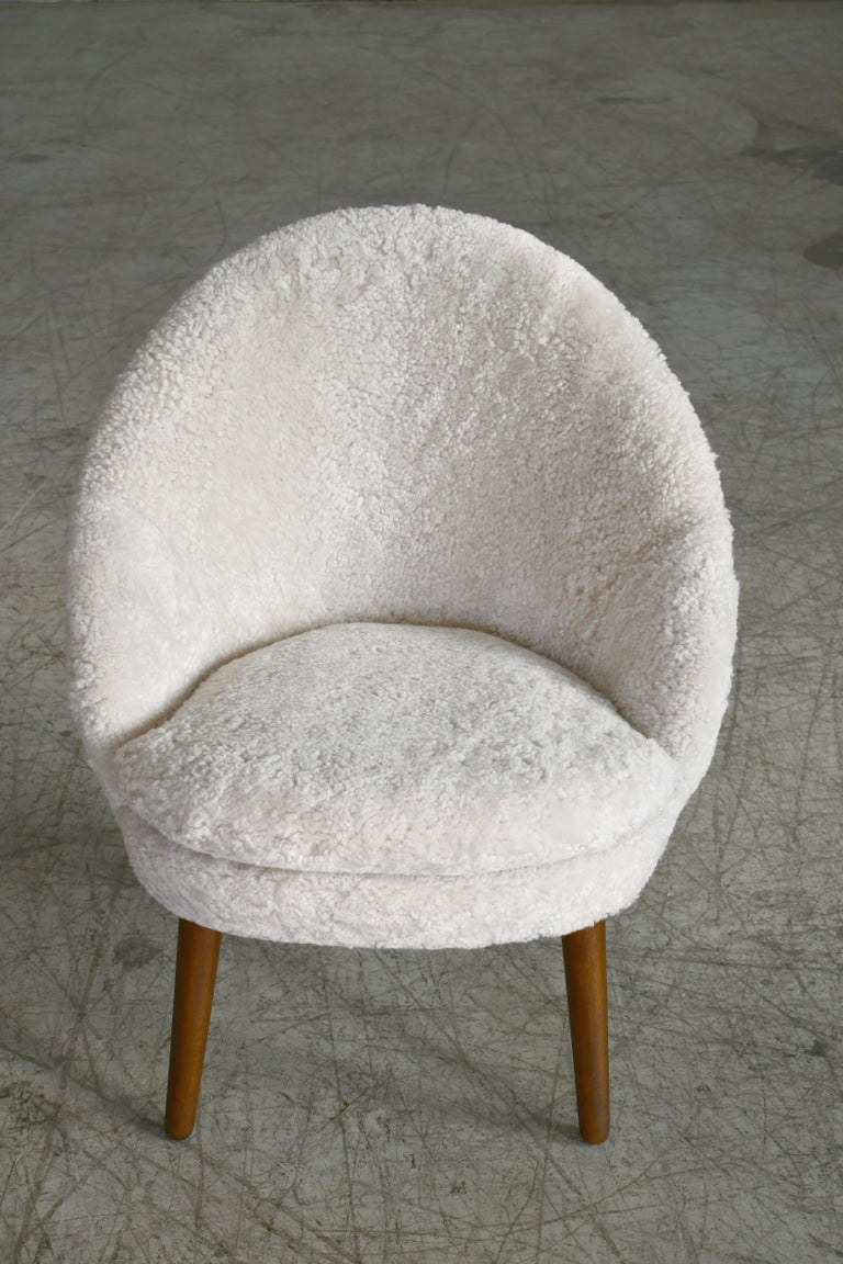 Danish 1950s Easy Chair Covered in Shearling Sheepskin by Ejv. Johansson For Sale 1