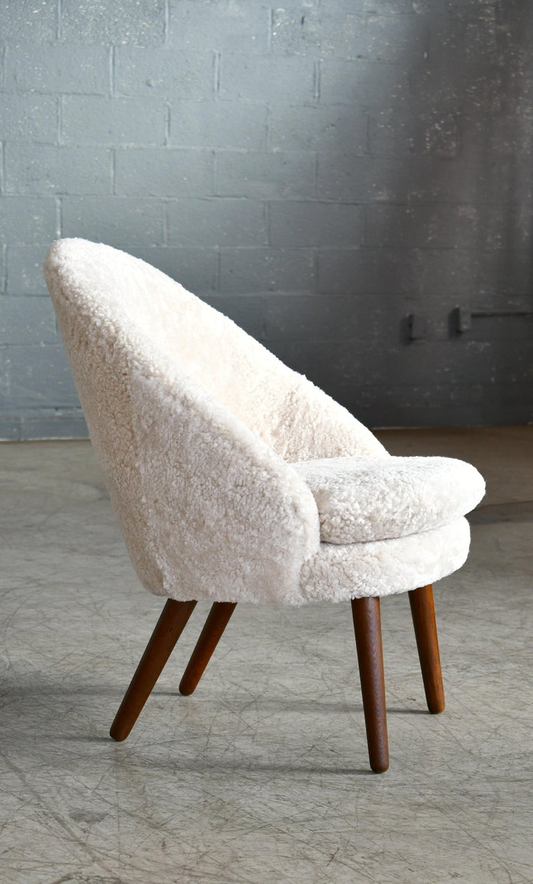 Danish 1950s Easy Chair Covered in Shearling Sheepskin by Ejv. Johansson For Sale 2