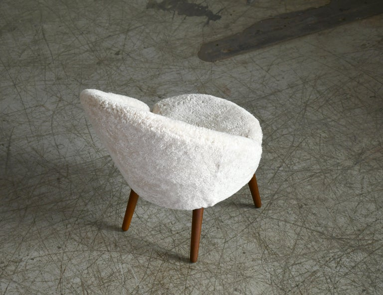 Danish 1950s Easy Chair Covered in Shearling Sheepskin by Ejv. Johansson For Sale 4