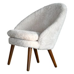 Danish 1950s Easy Chair Covered in Shearling Sheepskin by Ejv. Johansson