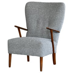 Danish 1950s Highback Lounge Chair in Grey Boucle Newly Upholstered