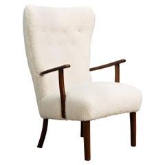 Danish 1950s Highback Lounge Chair in Lambswool Model 1644 by Fritz Hansen