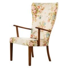 Danish 1950s Highback Lounge Chair Model 1644 by Fritz Hansen