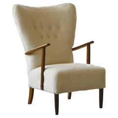 Danish 1950s Highback Lounge Chair Newly Upholstered in Lambswool