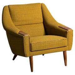 Danish 1950's Lounge Chair in Teak and Wool Attributed to H. W. Klein