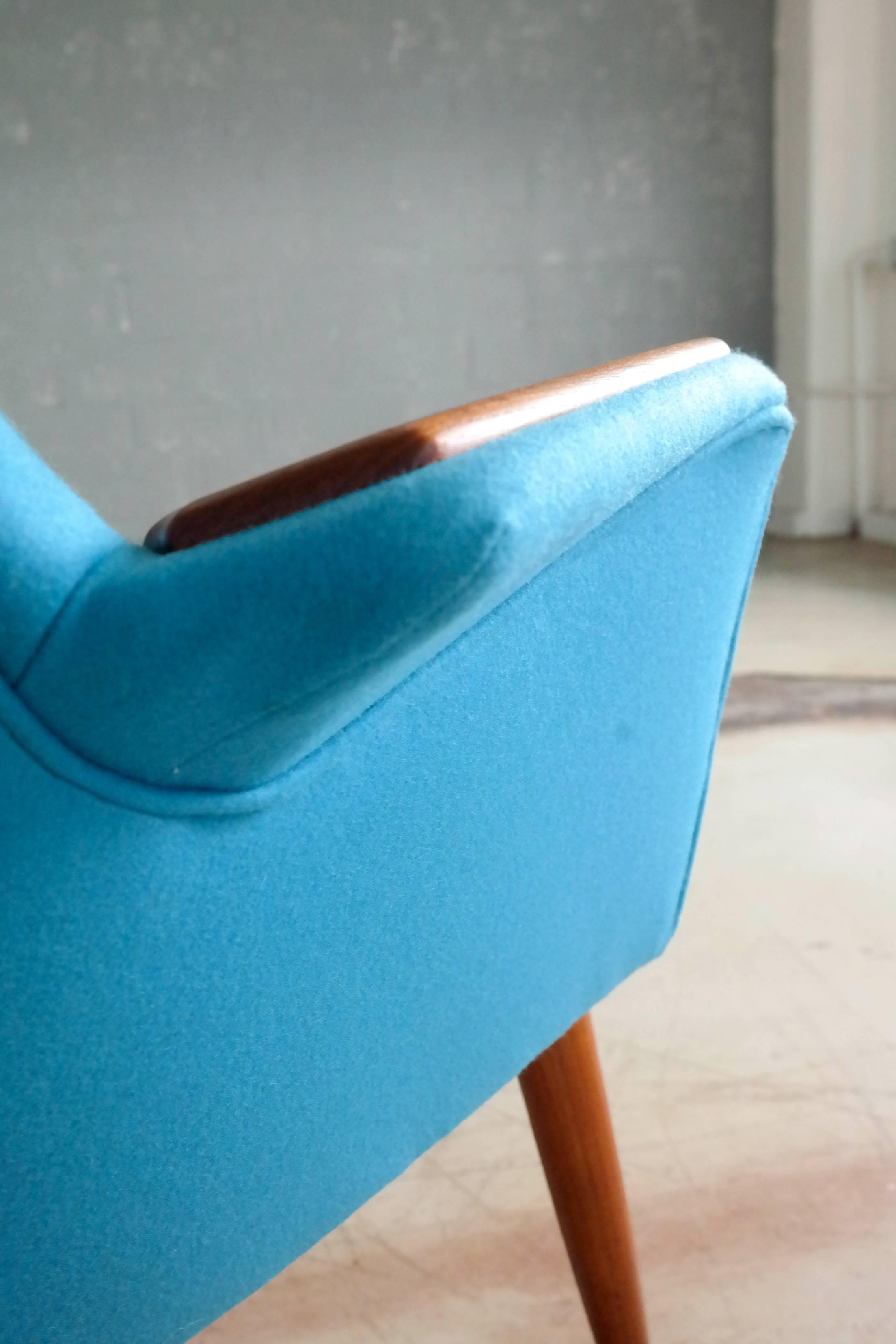 Danish 1950s Lounge Chair with Teak Armrests Upholstered in Kvadrat ...