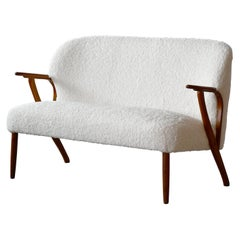 Danish 1950s Midcentury Settee in Teak and White Boucle Newly Upholstered