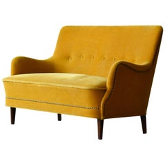 Danish 1950s Settee or Loveseat in Mohair Attributed to Peter Hvidt