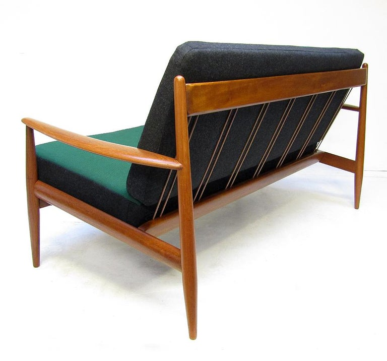Danish 1950s Sofa and Lounge Chair Set in Jade Kvadrat by Grete Jalk For Sale 5