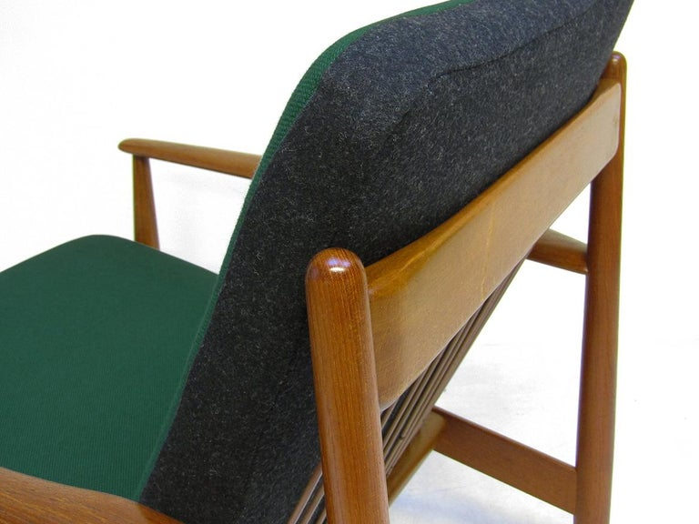 Danish 1950s Sofa and Lounge Chair Set in Jade Kvadrat by Grete Jalk For Sale 10