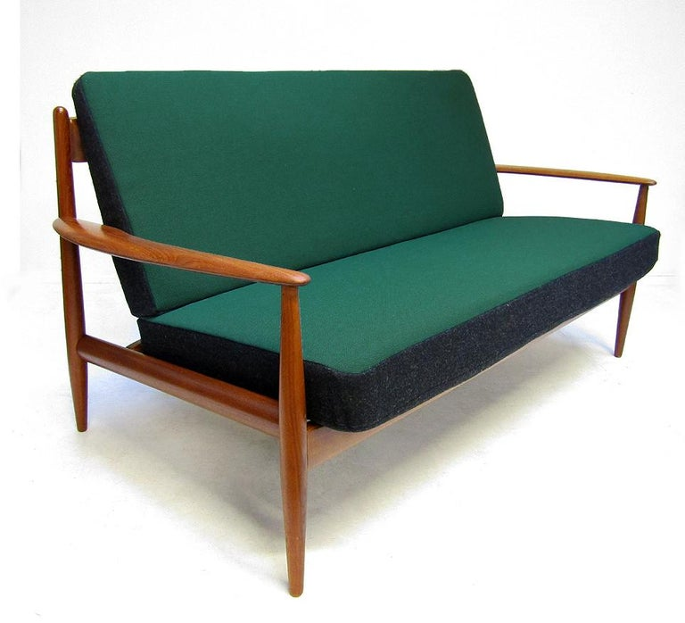 Scandinavian Modern Danish 1950s Sofa and Lounge Chair Set in Jade Kvadrat by Grete Jalk For Sale