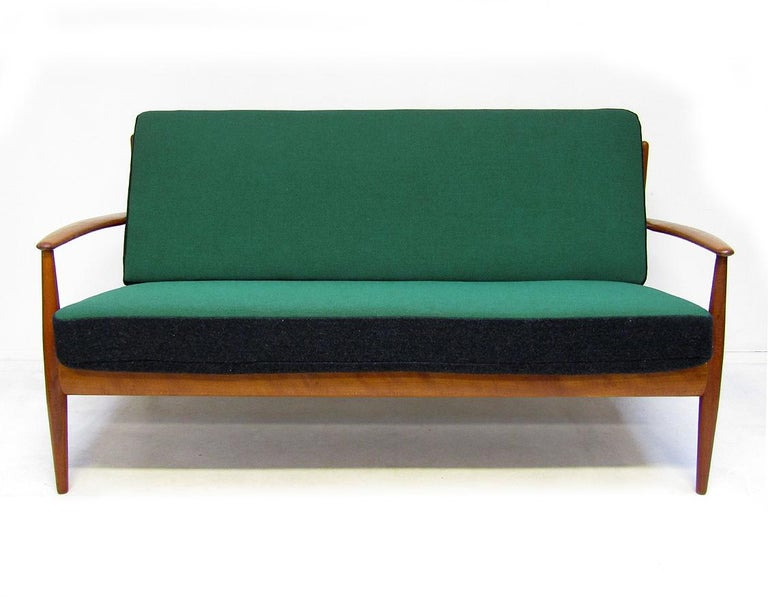 Mid-20th Century Danish 1950s Sofa and Lounge Chair Set in Jade Kvadrat by Grete Jalk For Sale