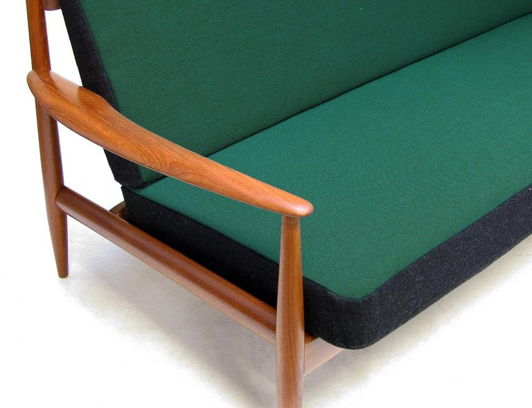 Danish 1950s Sofa and Lounge Chair Set in Jade Kvadrat by Grete Jalk For Sale 1