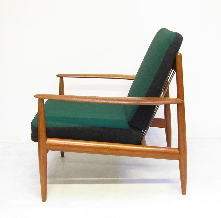 Danish 1950s Sofa and Lounge Chair Set in Jade Kvadrat by Grete Jalk For Sale 2