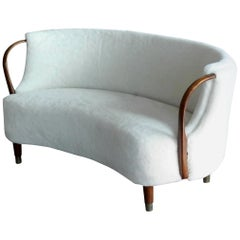 Danish 1950s Viggo Boesen Style Curved Banana Shaped Settee with Open Armrests
