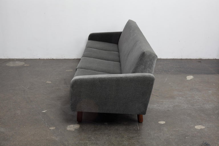 Oiled Danish 1960s 4-Seat Loose Cushion Sofa with Solid Teak Legs