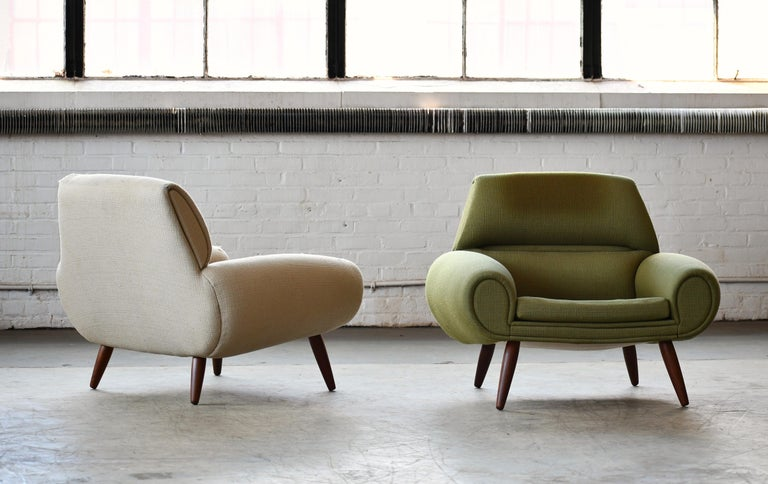 Amazing set of Danish lounge chairs with low and sleek organic design lines and just the epitome of the best the Danish designers of the 1960s had to offer. Some of these fantastic designs of the late 1960s were in many ways the last hooray for