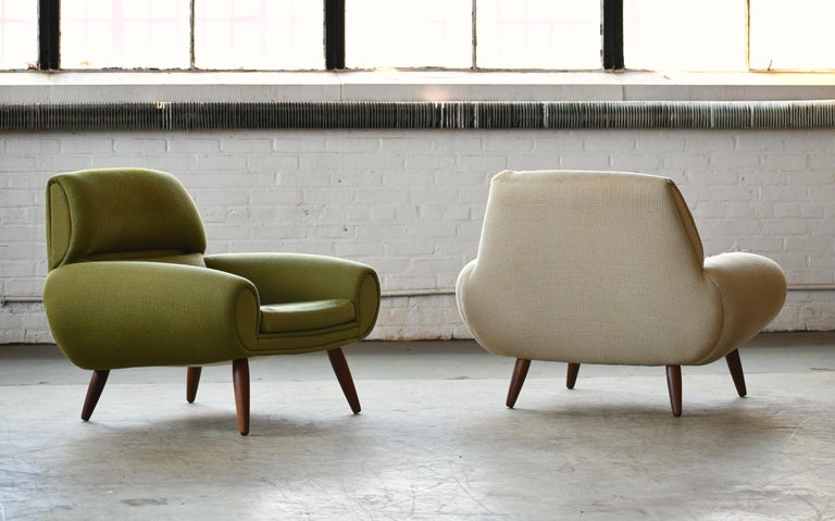 Mid-Century Modern Danish 1960s Atomic Age Lounge Chairs by Kurt Ostervig Midcentury  For Sale