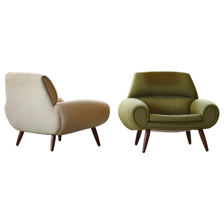 Danish 1960s Atomic Age Lounge Chairs by Kurt Ostervig Midcentury  For Sale
