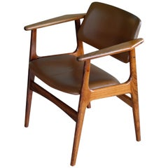 Danish 1960s Desk or Side Chair in Leather and Rosewood by Erik Buch