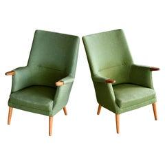 Danish 1960s Hans Wegner Mama Bear Style Lounge Chairs by Poul Jessen